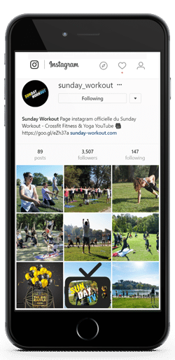 Compte instagram sunday workout sut Iphone
