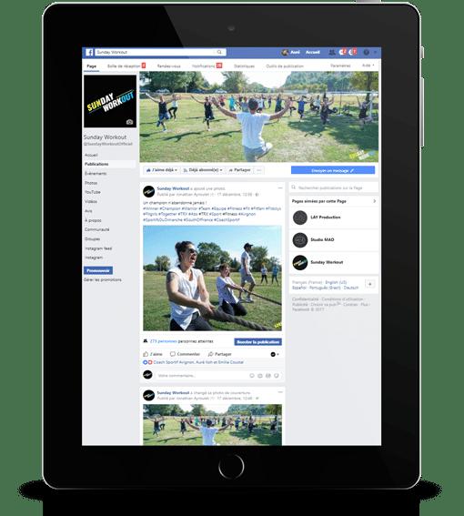 facebook sunday workout sur Ipad agence ak digital avignon