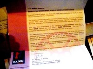 Le billet d'avion de Francis MUHIRE pour aller aux EAM's en Aout 2011 @Photo Béni NKOMERWA