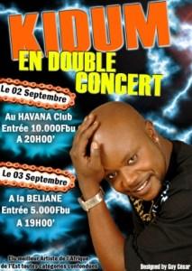 Affiche du concert de Kidum (www.akeza.net)