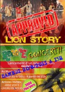 L'affiche ''APPROVED'' du concert de Lion Story (www.akeza.net)