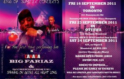 Affiche des concert de FARIaZ BIG au Canada (www.akeza.net)