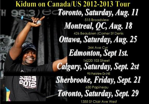 Sur cette photo , les dates de la tournée de Kidum au Canada (www.akeza.net)