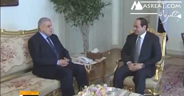 الرئيس السيسي مع رئيس الوزراء ابراهيم محلب