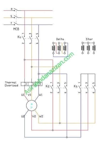 Rangkaian Utama Star Delta Motor Listrik Induksi 3 Fasa