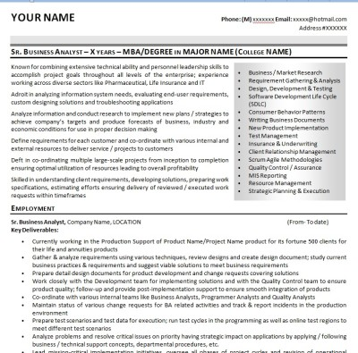 Business Analyst Resume Summary Examples