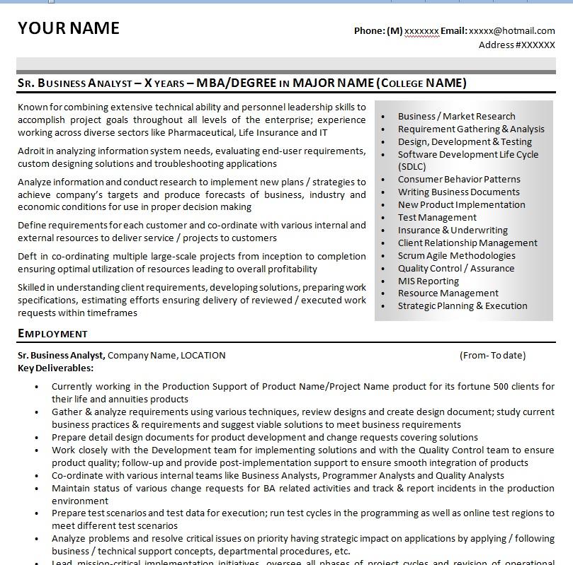 sr business analyst sample resume