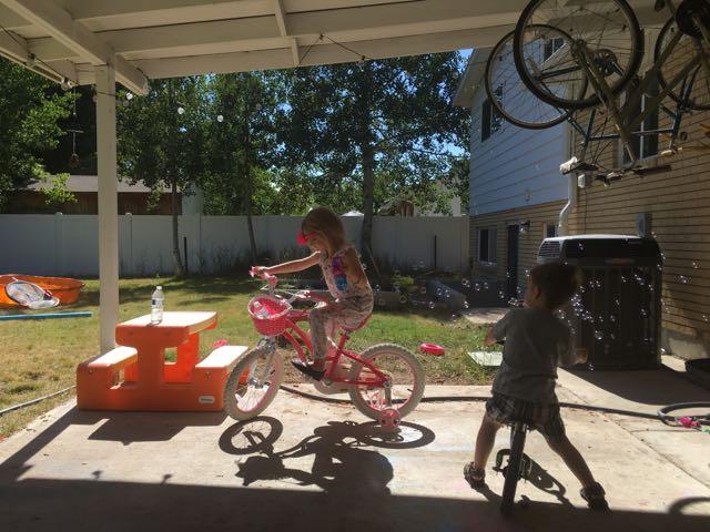 Biking in the Yard-Keeping Cool