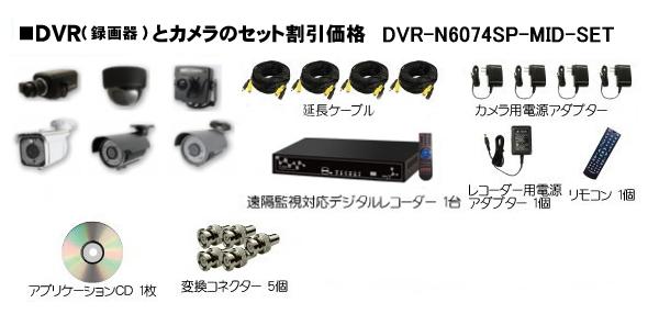 DVR-H6074SP-MID-SET 8CH DVRと高性能カメラ1~8台のフルセット