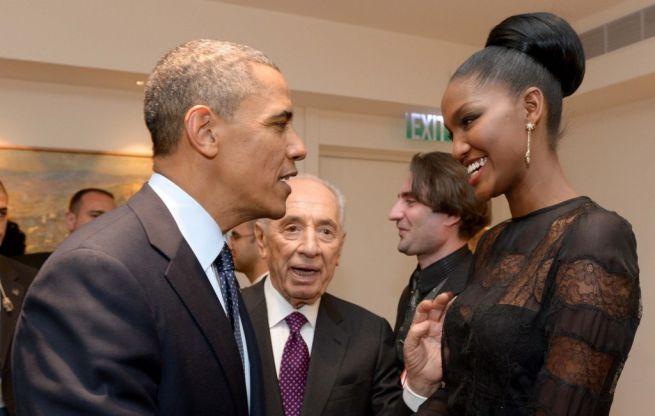 Barack Obama, Simon Peresz és Yityish Titi Aynaw, Izrael első etióp származású szépségkirálynője