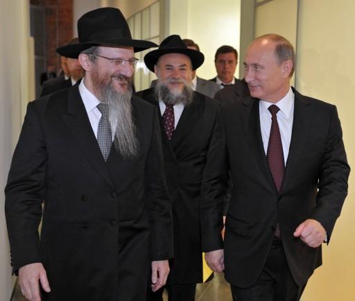 Berel Lazar orosz főrabbi Putyin elnökkel és Boroda rabbival