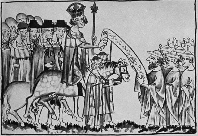 VII. Henrik törvénytekercset fogad el egy római zsidó kódexből, 1341