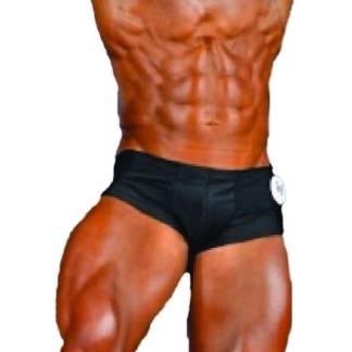 Akieistro® Men's Classic Physique Nano Shorts BB Posing Trunks - Black Color Only - Front View