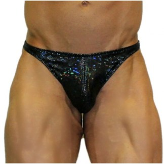 Akieistro® Men's Professional Bodybuilding Posing Suit - Metallic Black Hologram - Front View