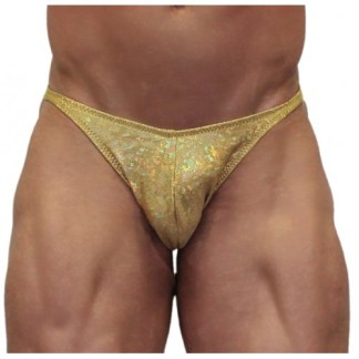 Akieistro® Men's Professional Bodybuilding Posing Suit - Metallic Gold Hologram - Front View