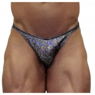 Akieistro® Men's Professional Bodybuilding Posing Suit - Metallic Silver Hologram - Front View