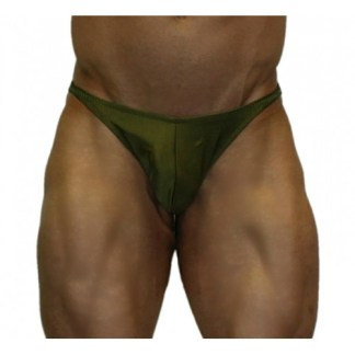 Akieistro® Men's Professional Bodybuilding Posing Suit - Solid Olive Army Green Forest - Front View