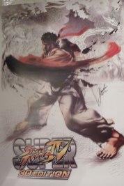 Poster Super Street Fighter IV 3D firmado por Yoshinori Ono