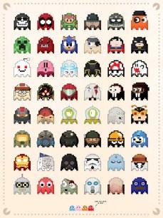 Póster de personajes famosos recreados como fantasmas de Pac-Man