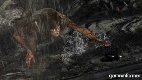 Lara Croft intentando sobrevivir en el reinicio de Tomb Raider