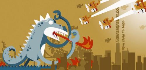 Godzi atacando una ciudad, por Roswell