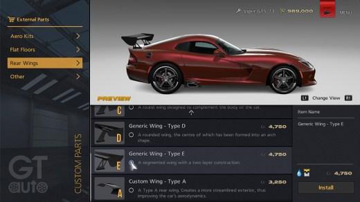 Menu GT Auto en Gran Turismo 6