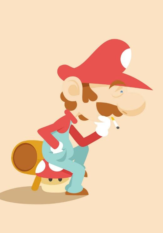 Mario reflexionando, por Roswell