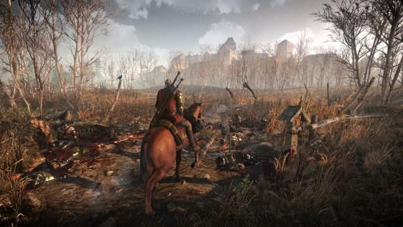 Geralt de Rivia pasando por el campo de los consoleros muertos tras comparar las versiones Xbox One y PS4 con la de PC (Dramatización)