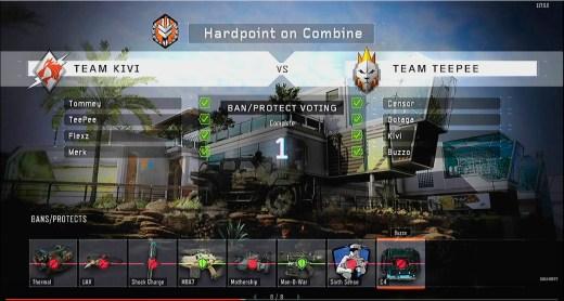 Cada jugador de cada equipo elige banear o proteger una habilidad, accesorio o arma.