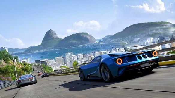 Captura del primer nivel de la demo, un circuito urbano en el soleado Rio de Janeiro.  Querrás que llueva hasta en Brasil.