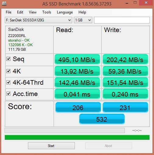 sandisk ssd plus 120GB benchmark