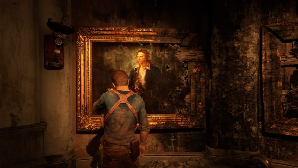Un retrato de Guybrush Threepwood en uno de los puzzles de Uncharted 4