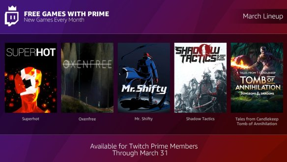 Twitch Prime te llena de juegos gratis mes a mes