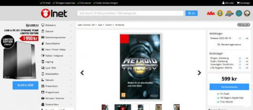 Entrada en Inet para el Metroid Prime Triology de Switch