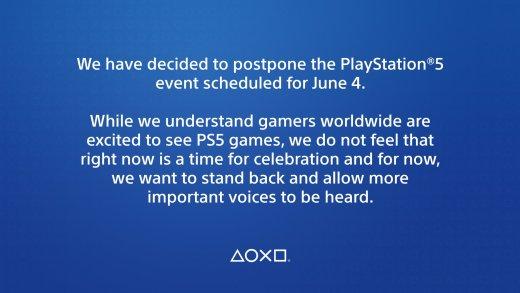 Comunicado del retraso del directo de PlayStation 5