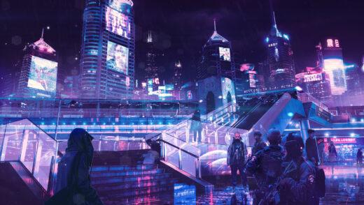Ciudad de neones en Cyberpunk 2077