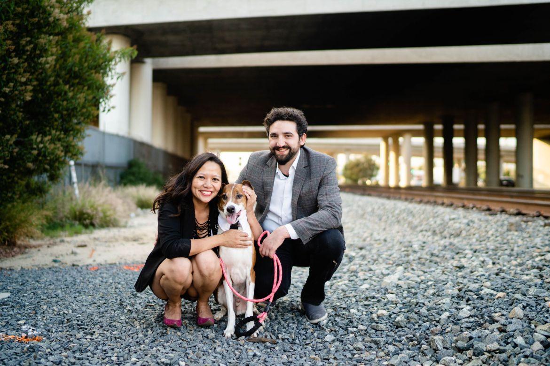 engagement photo dog