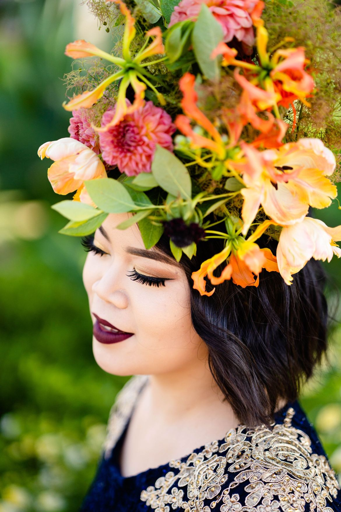 flower crown garden wedding idea