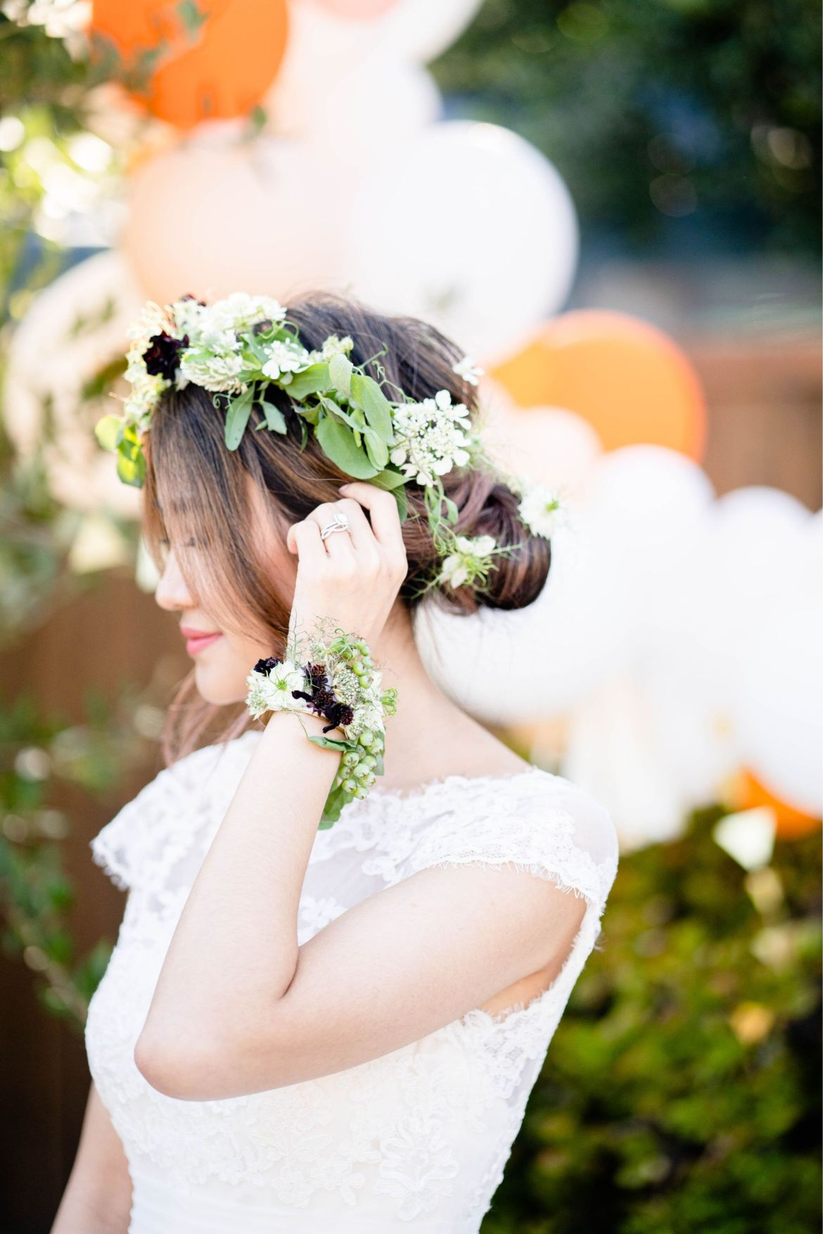 garden wedding flower crown