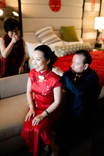 Tea ceremony red dress