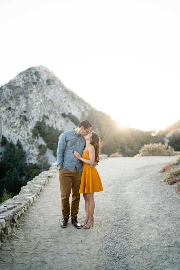 golden hour mountain engagement