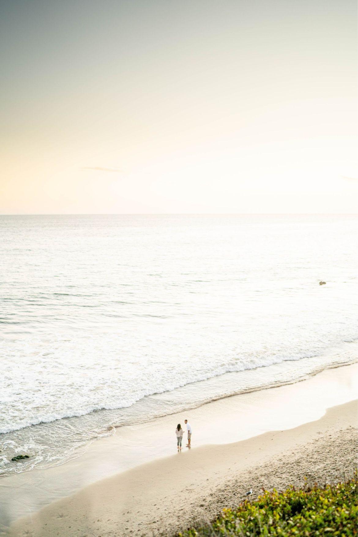 sunset el matador beach engagement
