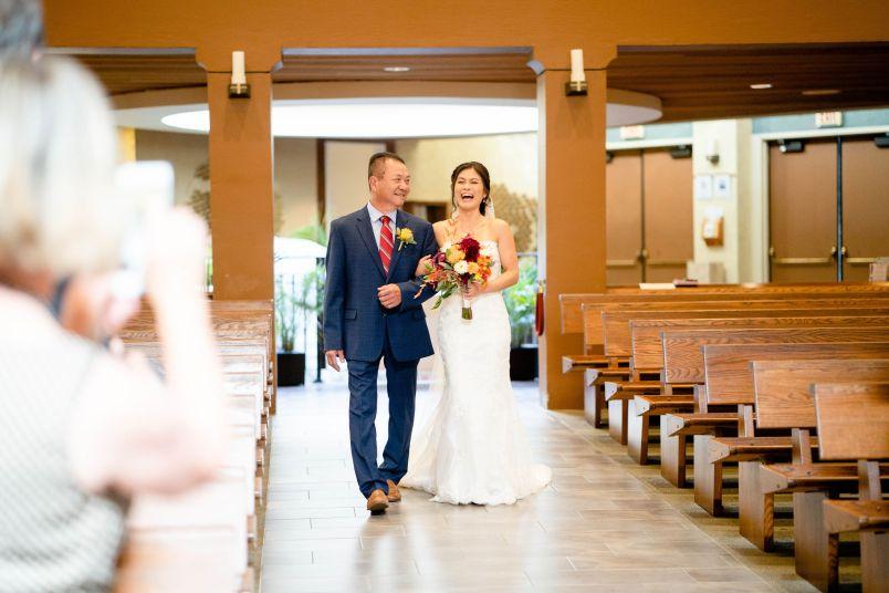 orange county wedding bride walk