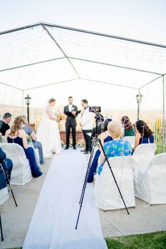 backyard wedding ceremony photo