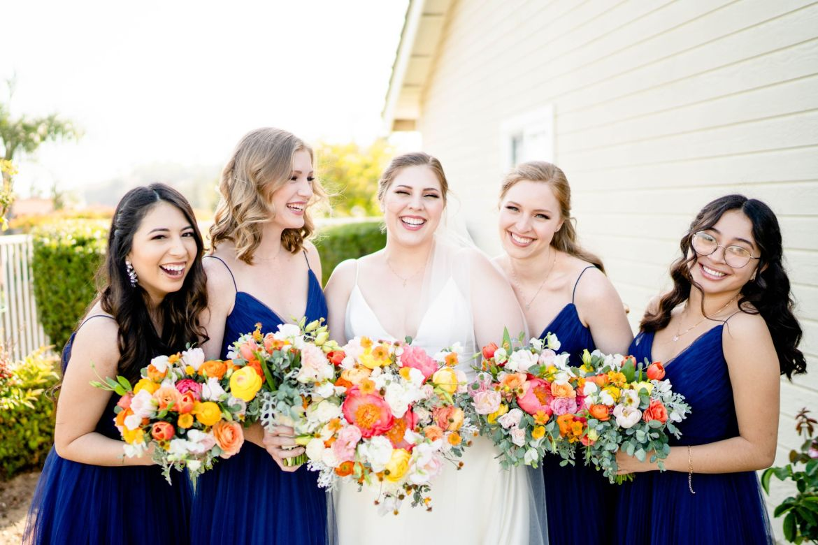 backyard wedding photo bridesmaids