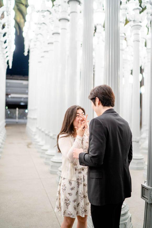 engagement proposal photographer urban lights