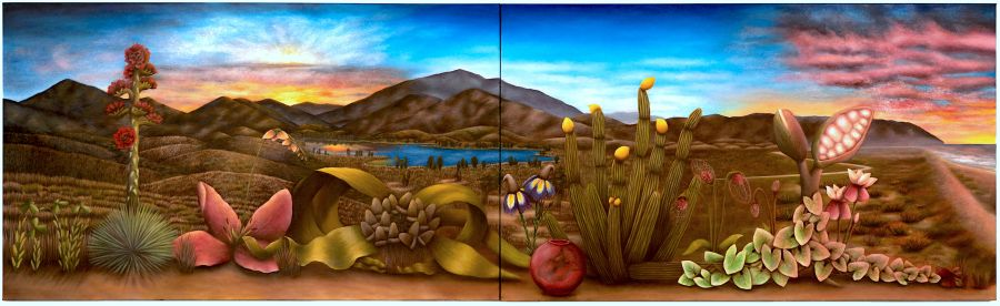 A landscape painting of south San Diego county with hybridized plants in the foreground