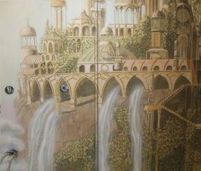 monumental painting Wall painting Elven city Wall number 2 The Lord of the Rings September October 2013 Airbrush paintbrush