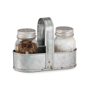 Farmhouse Kitchen Decor Mud Pie Fresh Jar Salt and Pepper Caddy Set