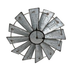 Farmhouse kitchen decor on a budget Rustic Farmhouse Metal Windmill Wall Clock